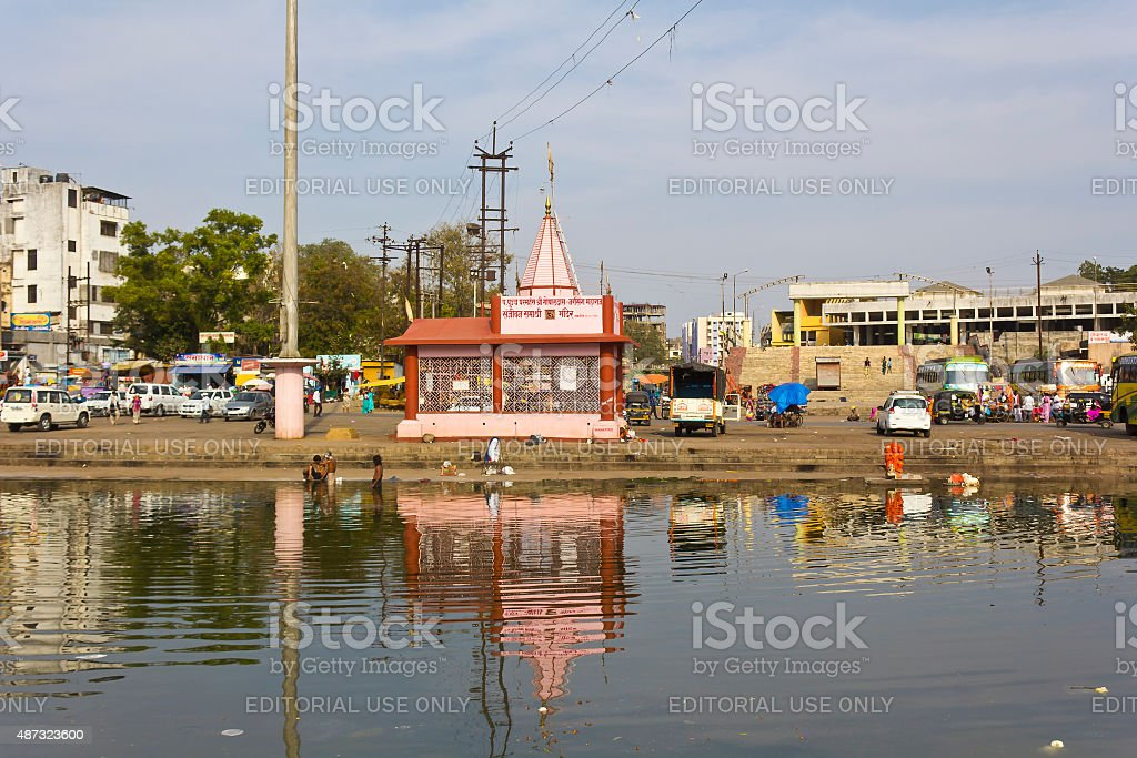 Sacred river Godavari stock photo