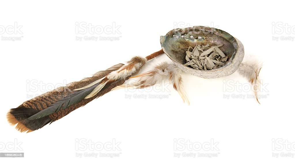 Sacred Sage And Smudging Tools royalty-free stock photo