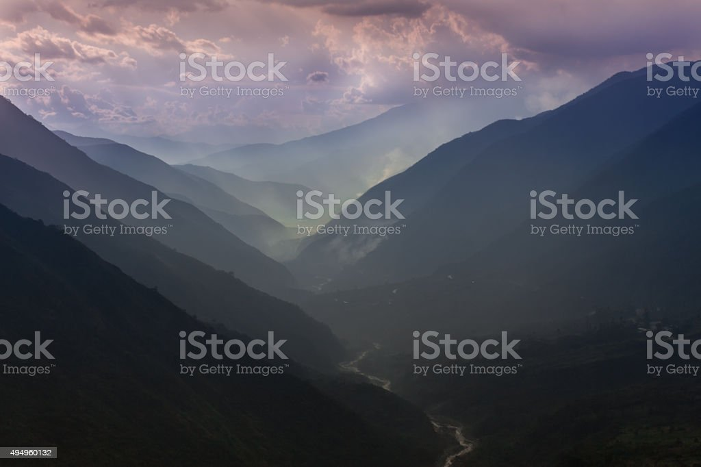 Sacred valley of the Inca's in Peru at sunset. stock photo