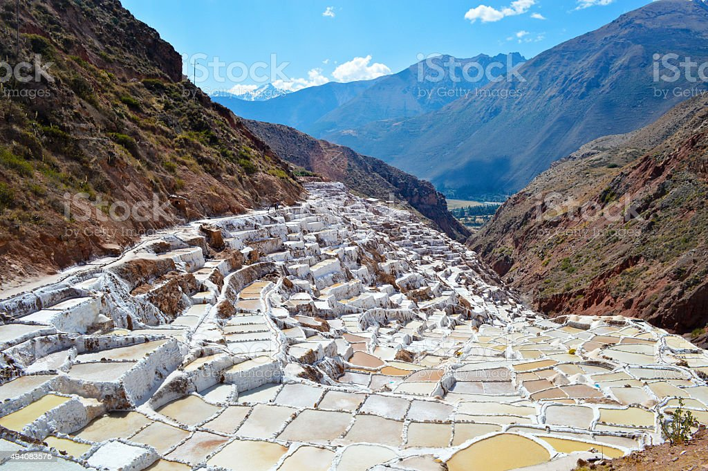 Sacred Valley Salt Mines in Maras, Peru stock photo