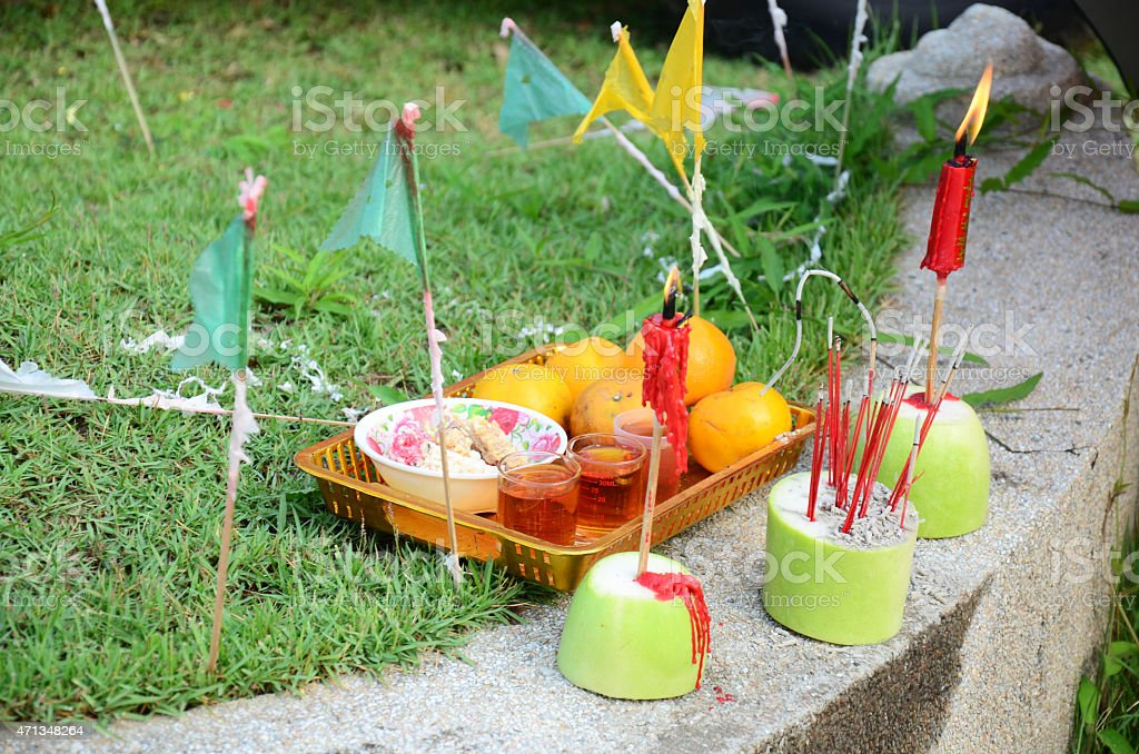 Sacrificial offering in the Qingming Festival stock photo