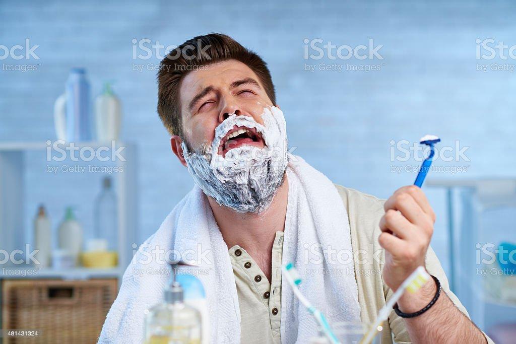 Sacrificing a beard stock photo