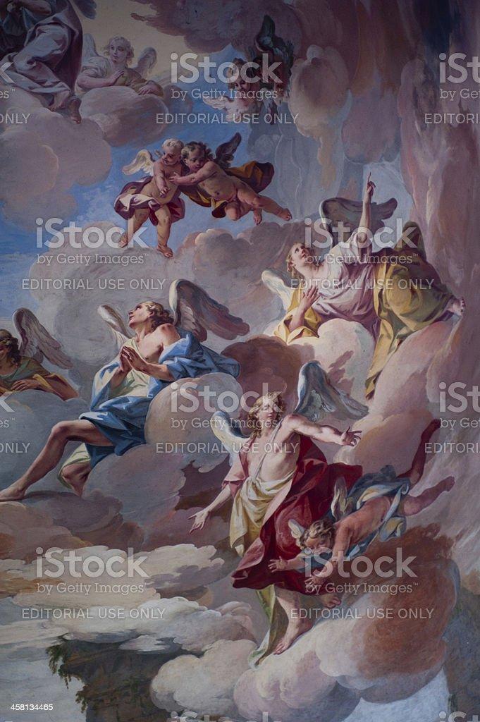 Sacro Monte ceiling 17th century paintings stock photo