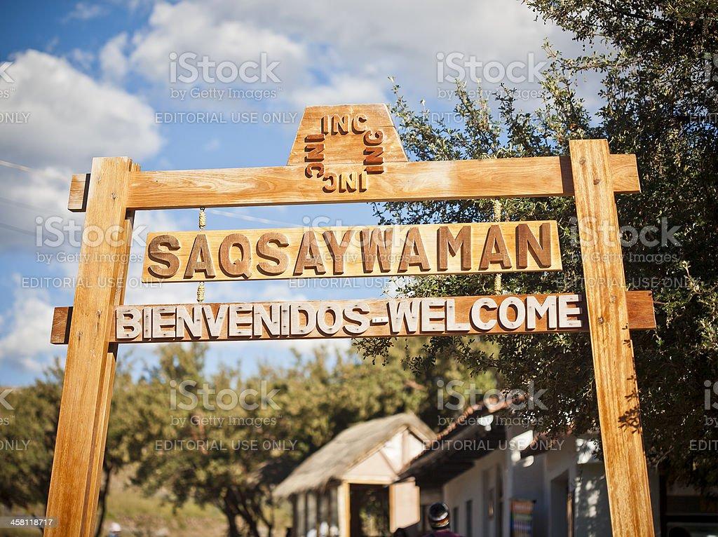Sacsaywaman Welcome In Cusco, Peru stock photo