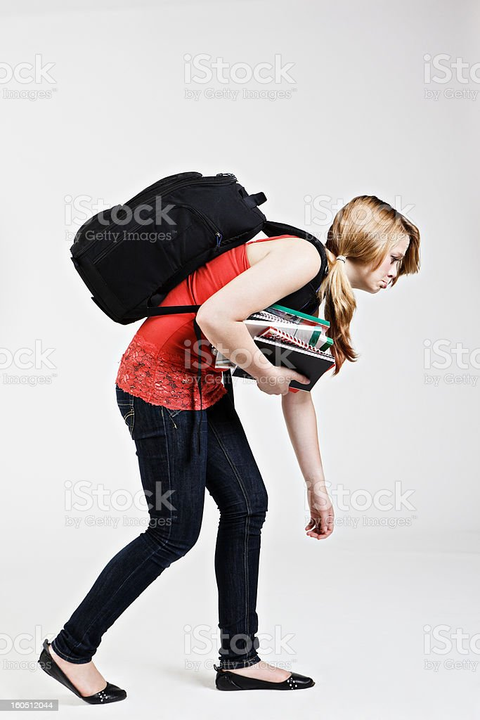 Sad and defeated female student stock photo