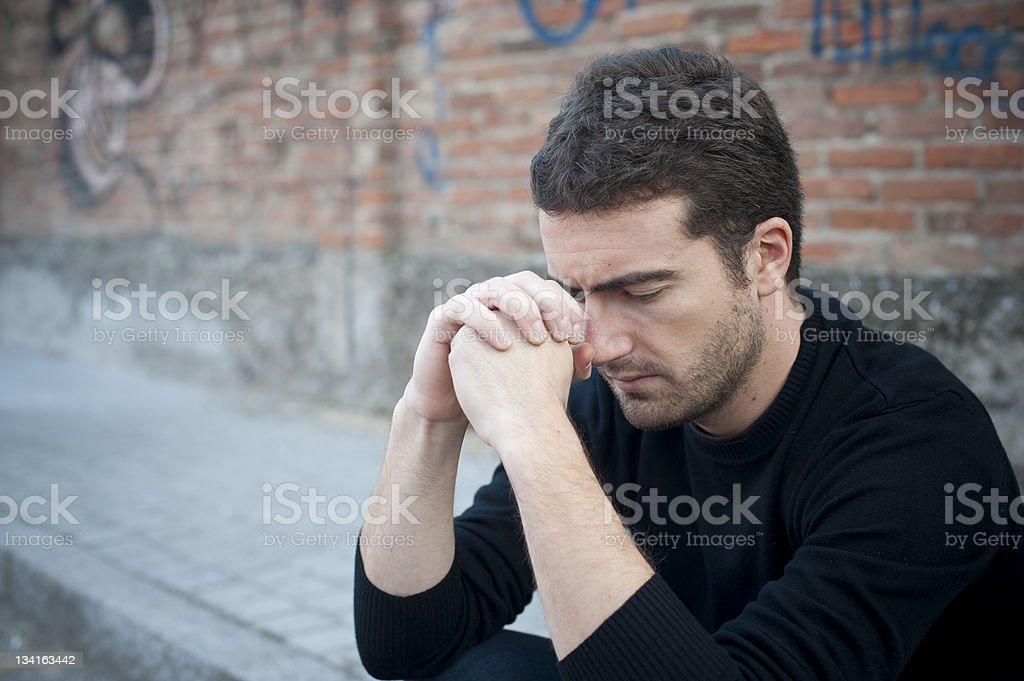Sad and depressed man stock photo
