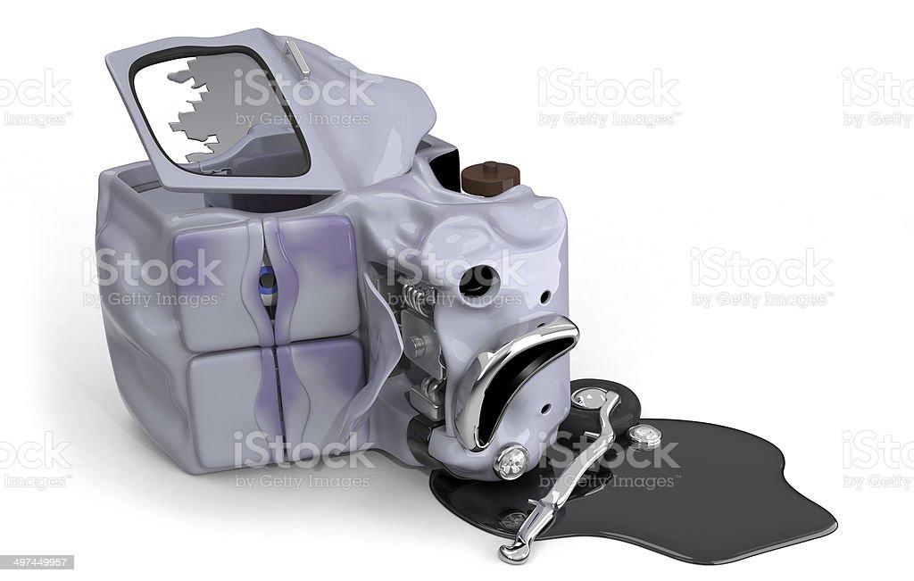 Sad and dying, crashed car 3D illustration stock photo