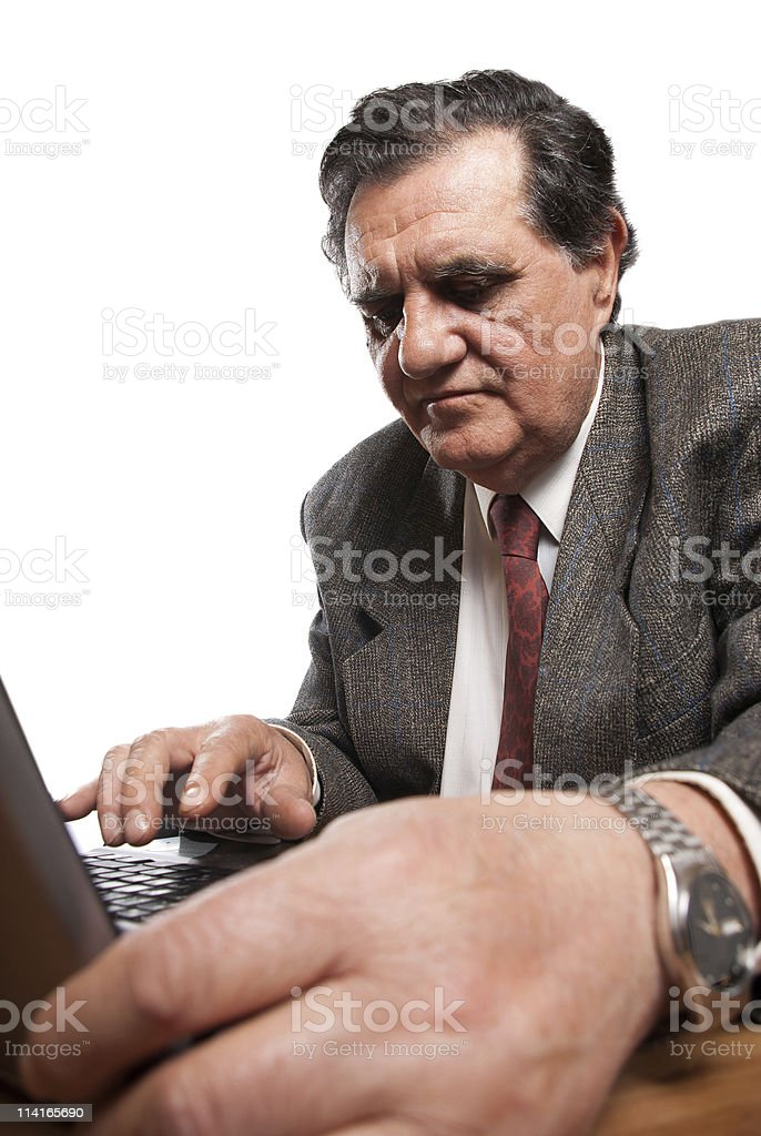 Sad and worried business man with a laptop royalty-free stock photo