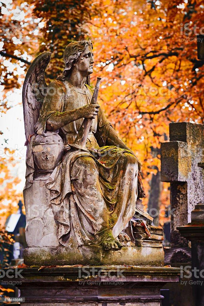 Sad angel with trumpet stock photo