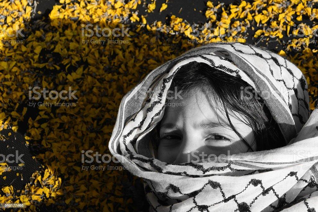 sad Arab girl stock photo