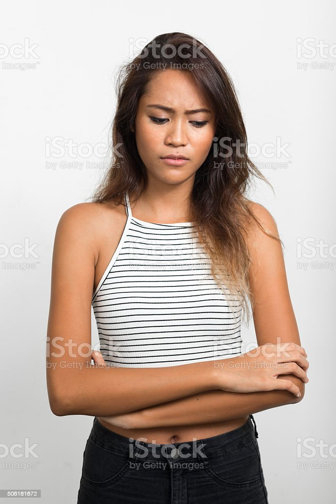 Sad Asian woman stock photo