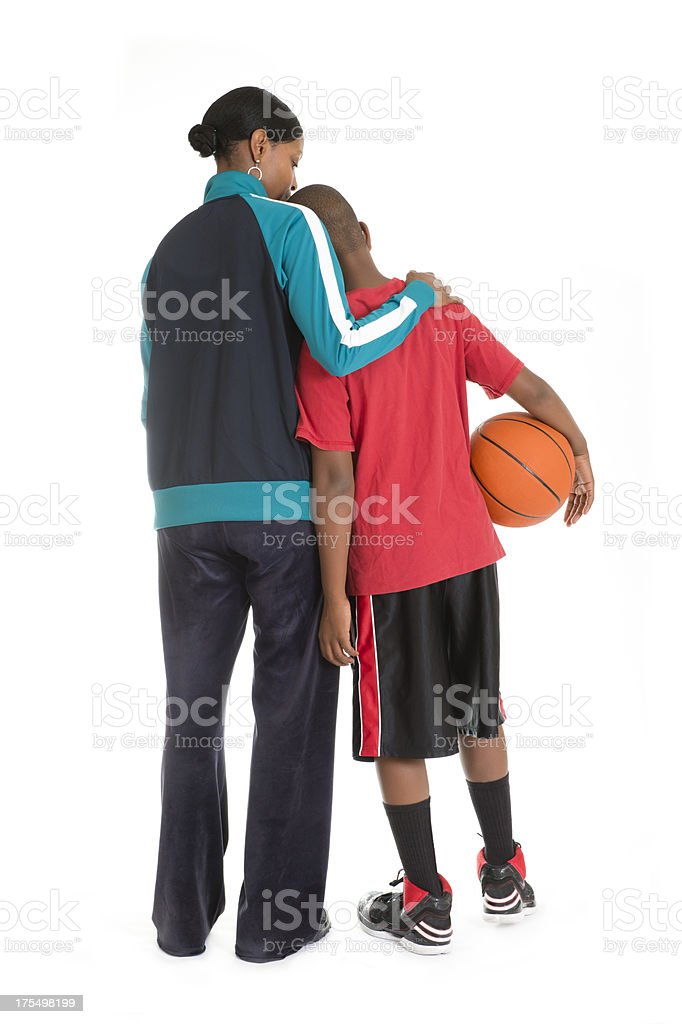 Sad Basketball Player Boy With Mother royalty-free stock photo