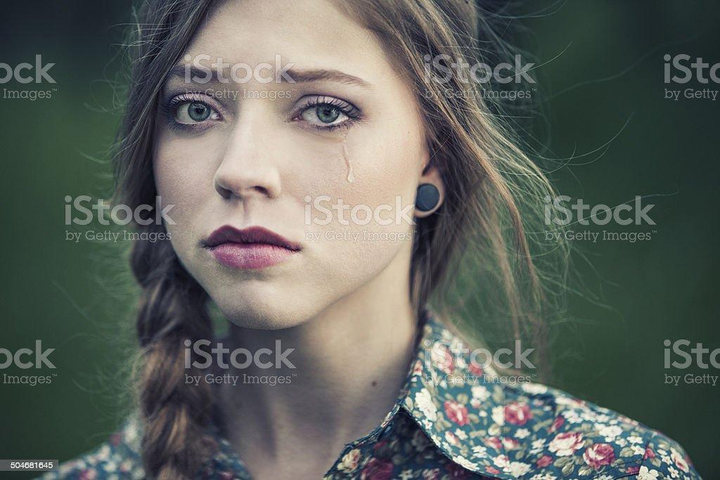 Sad beauty stock photo