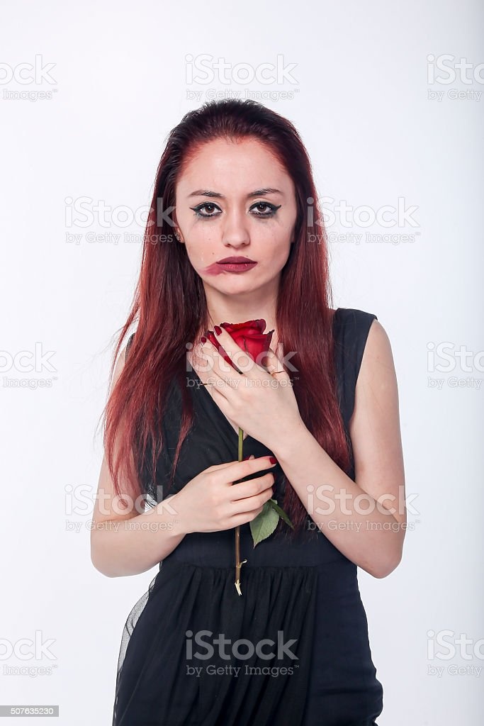 Sad beauty stock photo