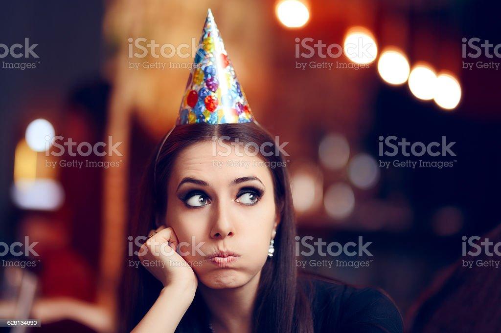 Sad Bored Woman at a Party Having No Fun stock photo