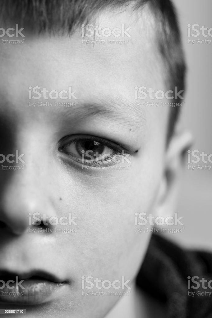 Sad Boy. Teenager with Sad Expression Face Close Up. Depression,...