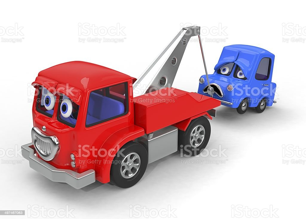 Sad, broken down car being towed 3D illustration stock photo