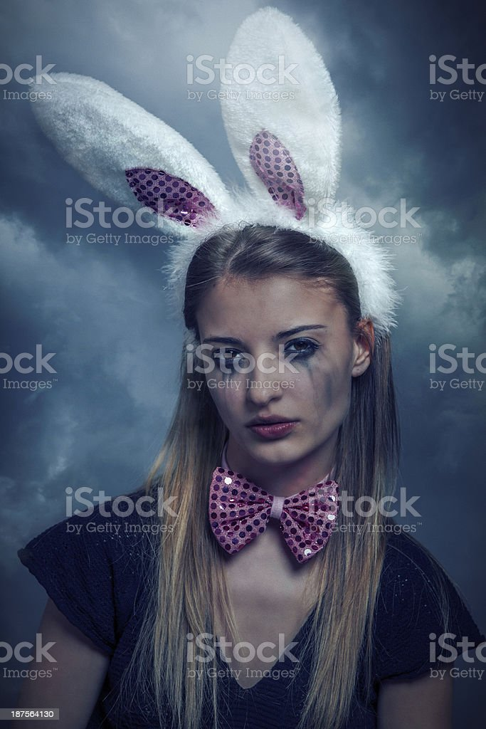 sad bunny girl royalty-free stock photo