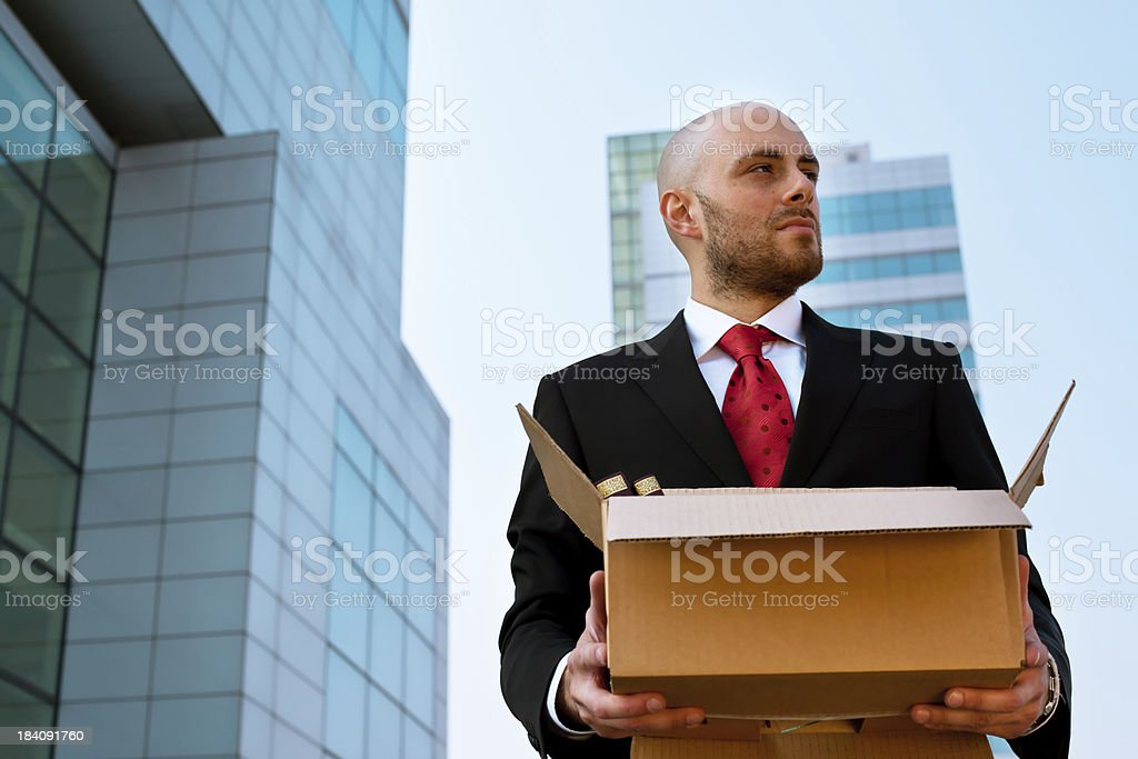 Sad Businessman Fired from Work royalty-free stock photo