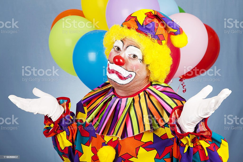 Sad Clown Gives Up stock photo