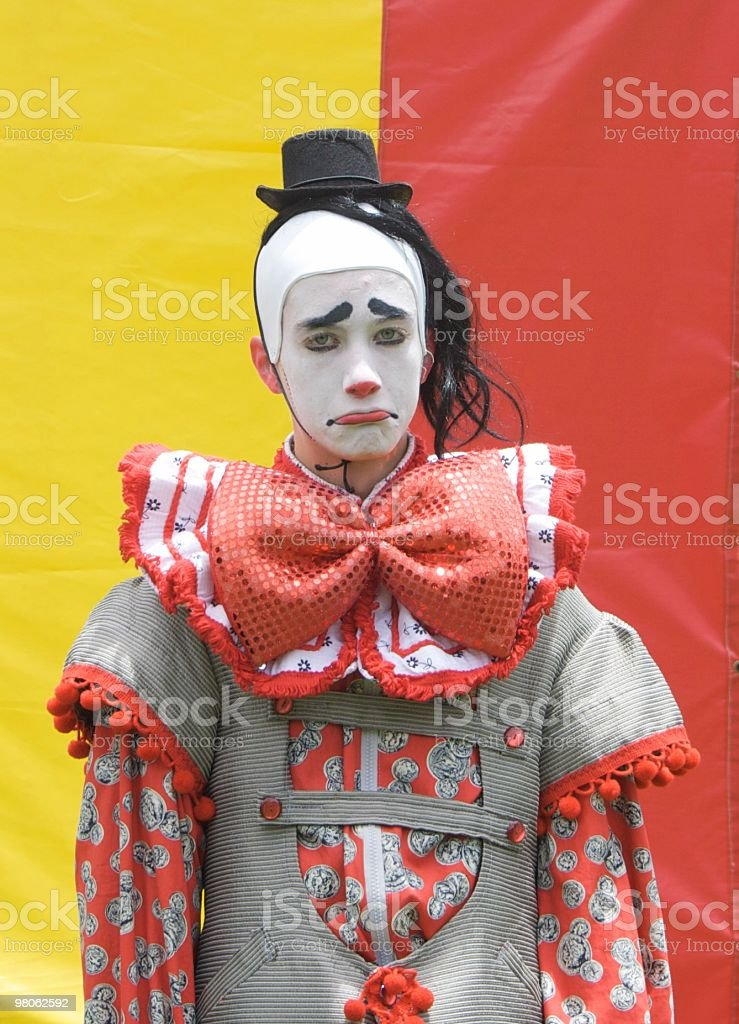 Sad, Colorful Clown royalty-free stock photo