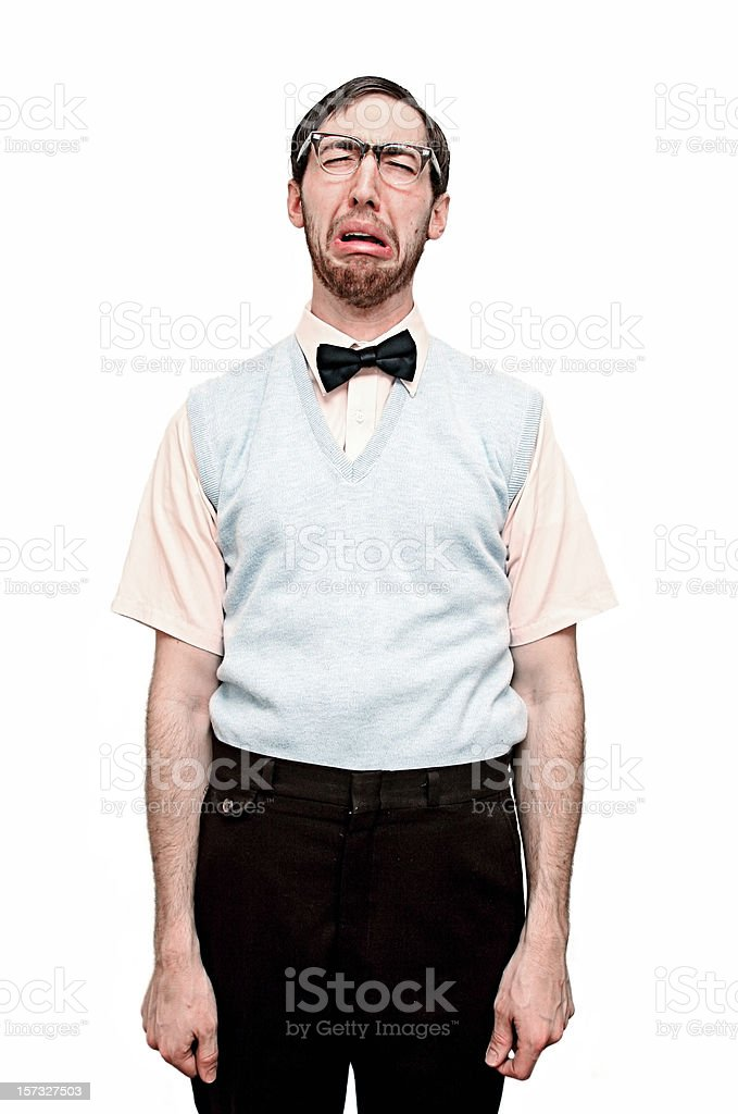Sad Crying Nerd stock photo