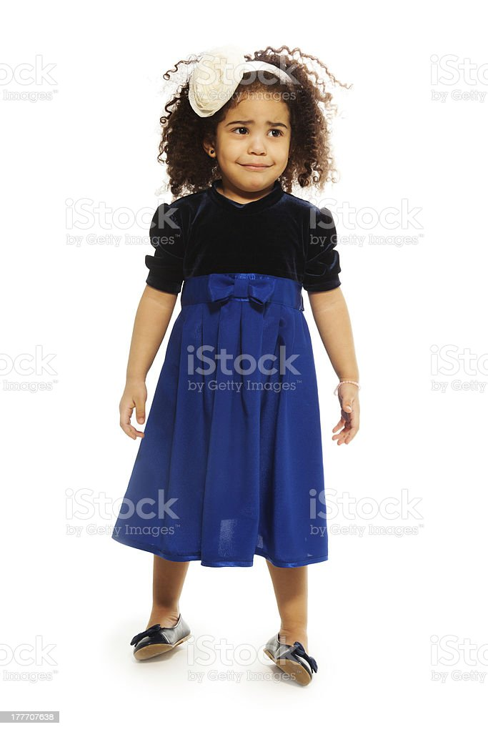 Sad cute black two years old girl royalty-free stock photo