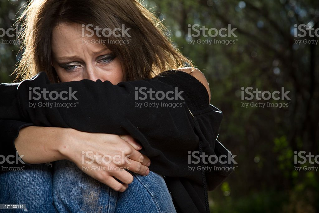 Sad Desperate Young Caucasian Woman Under Great Stress stock photo