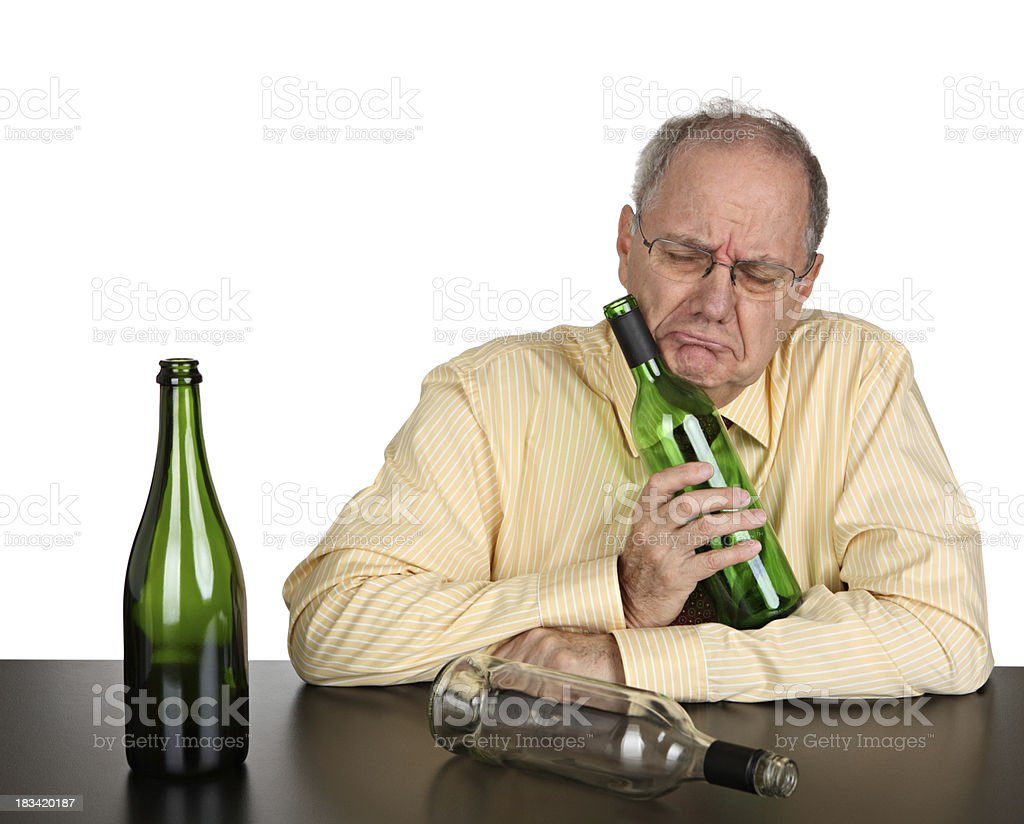 Sad drunk businessman stock photo