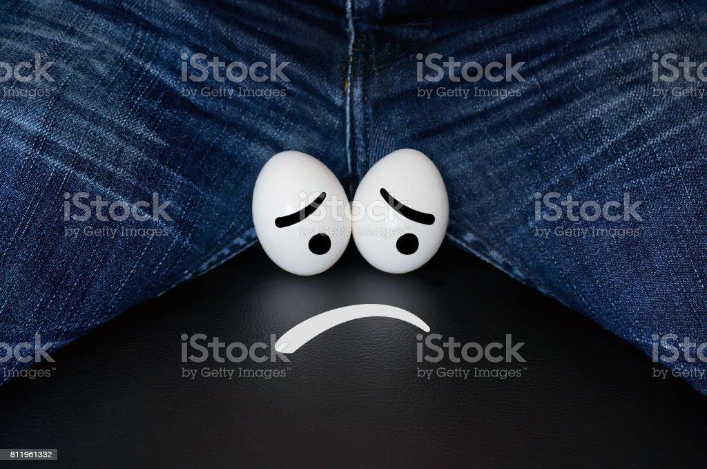 sad face chicken eggs symbolize problems stock photo