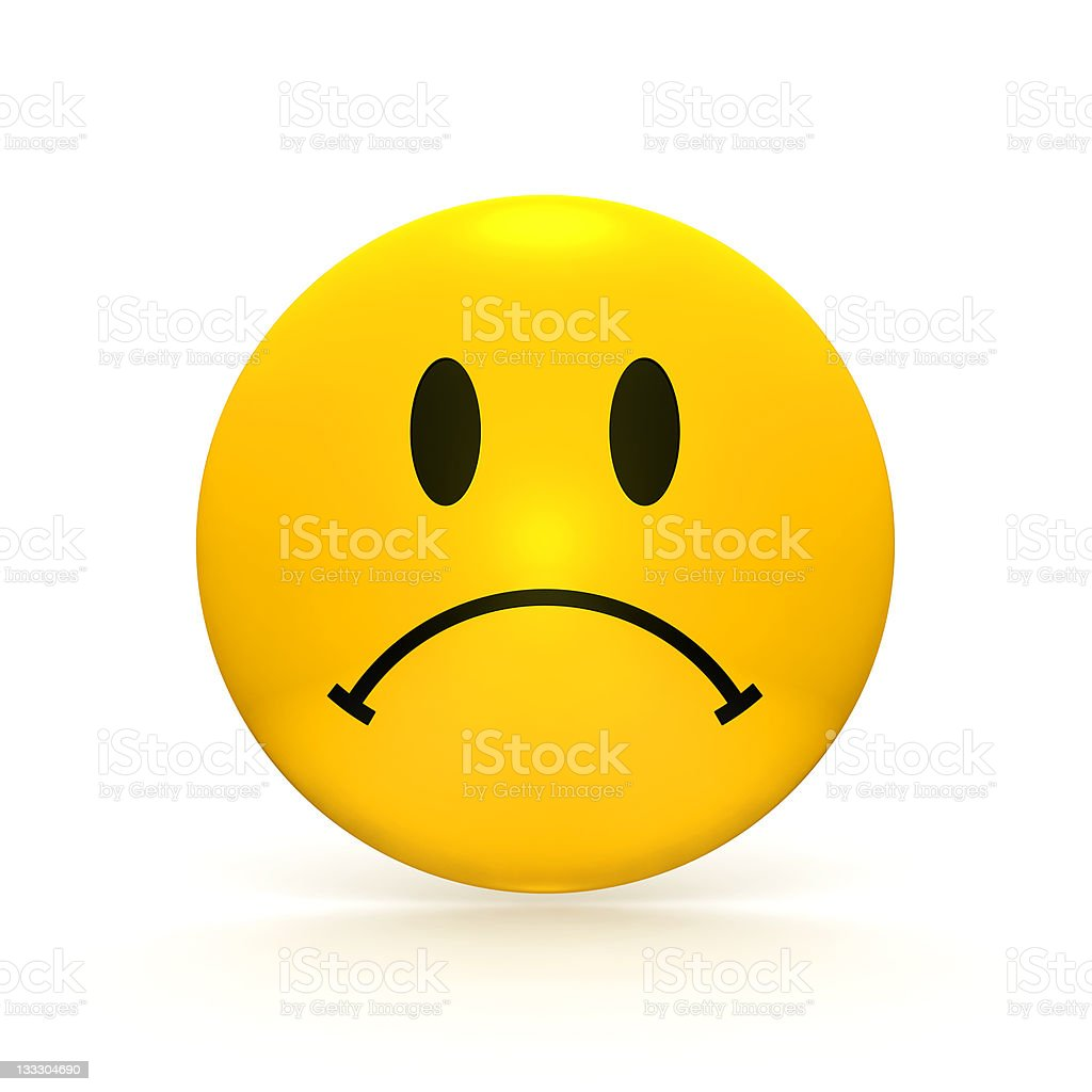 Sad Faced Button (XXXL) stock photo