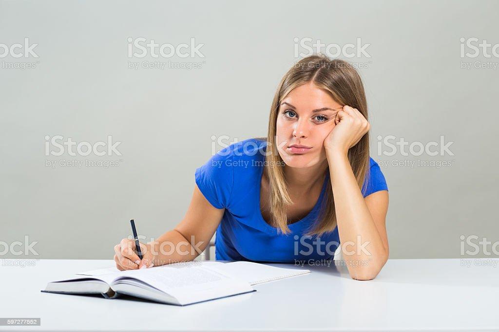 Sad female student stock photo