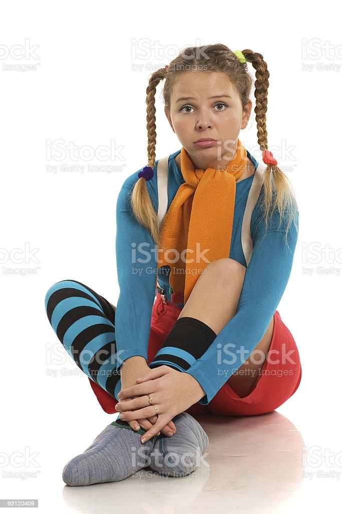sad girl in colour clothes stock photo