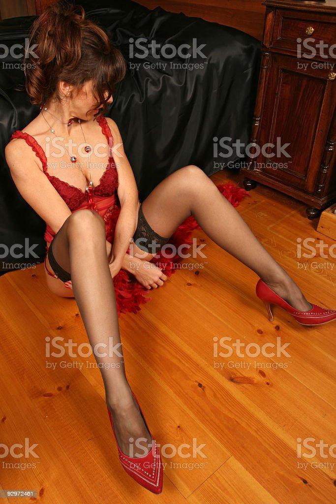 Sad girl in the bedroom royalty-free stock photo