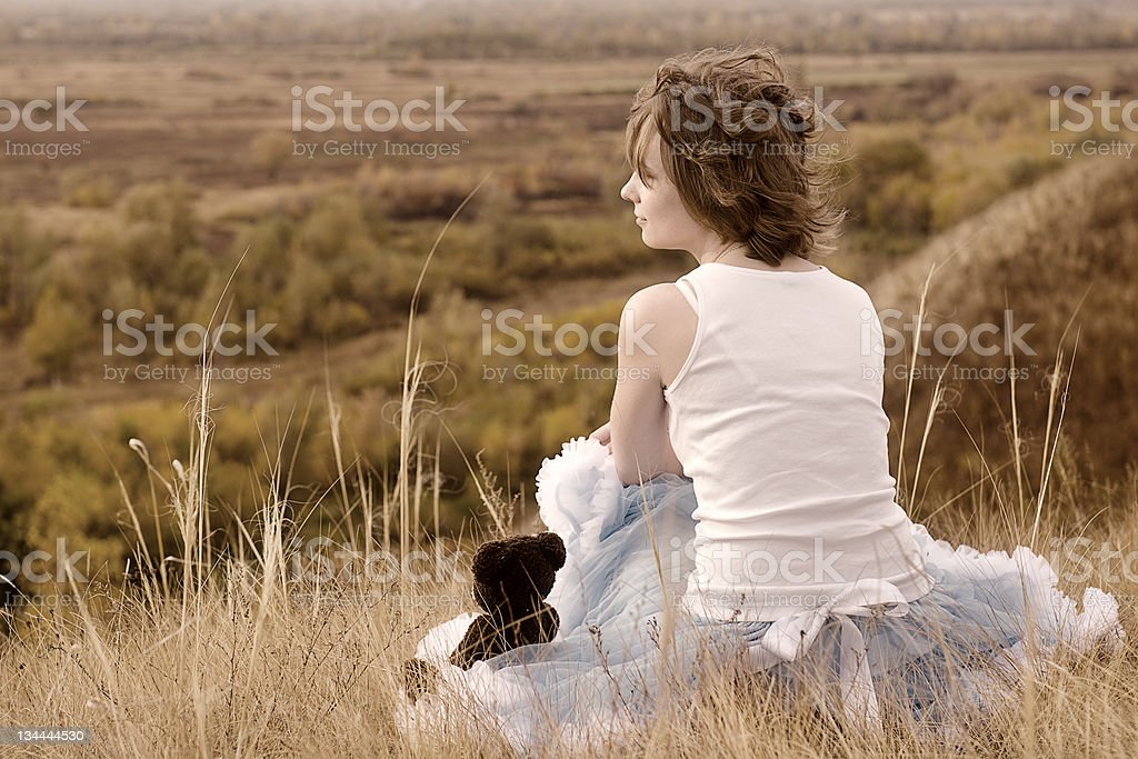 sad girl stock photo