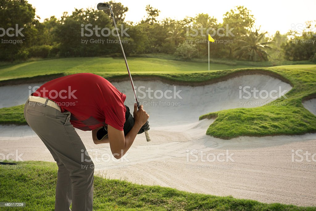 Sad Golfer stock photo