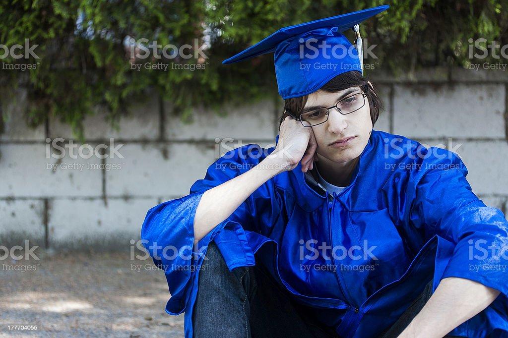 Sad Graduate stock photo