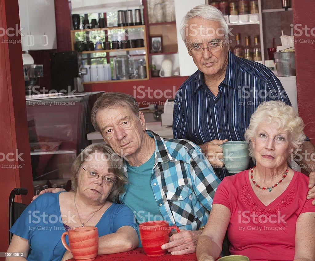 Sad Group of Senior Friends royalty-free stock photo