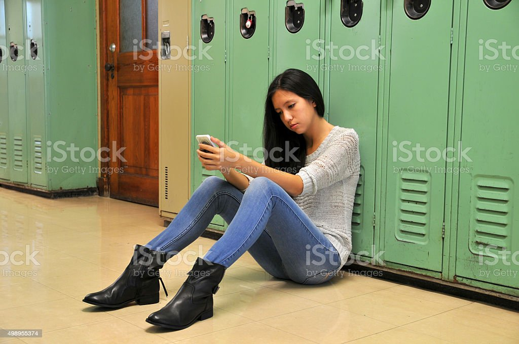 Sad High School Girl stock photo