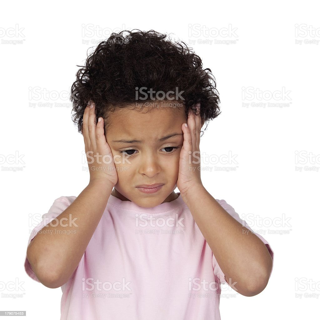 Sad latin child with headache royalty-free stock photo