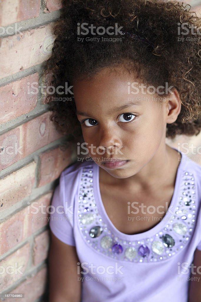 sad little african-american girl royalty-free stock photo