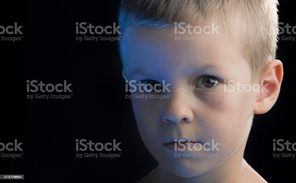 Sad Little Boy stock photo