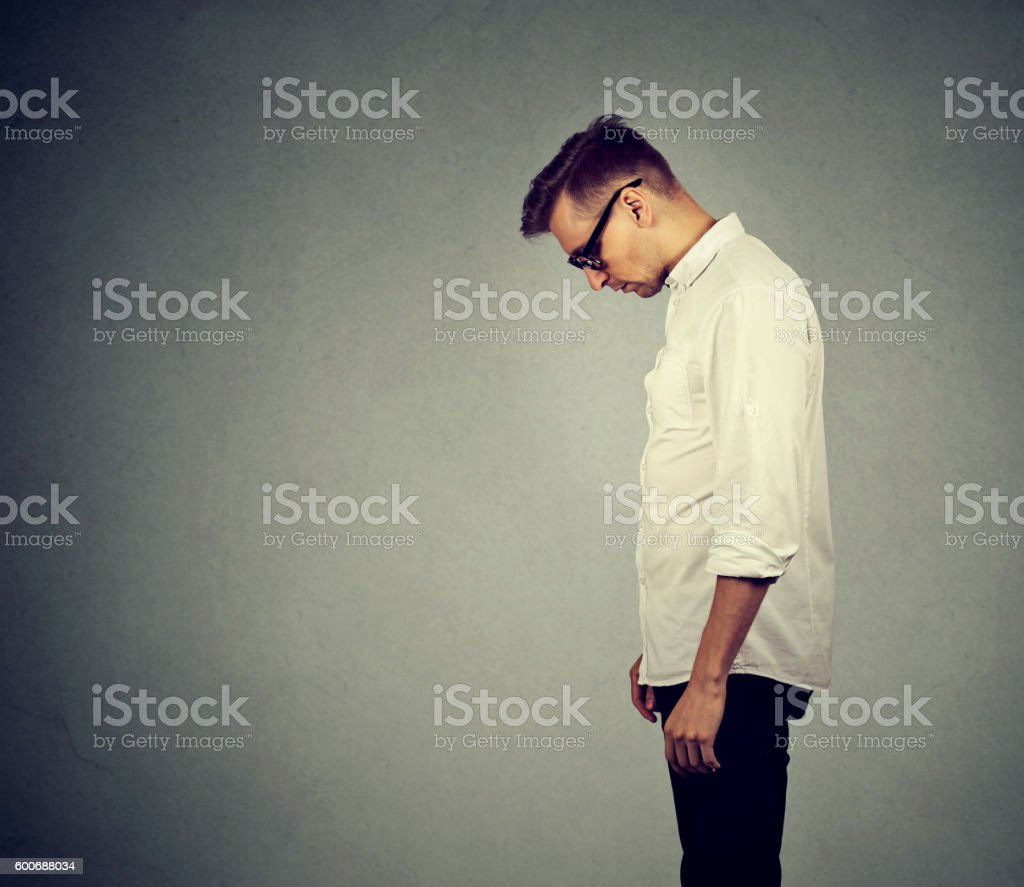 sad lonely man has no energy motivation depressed stock photo