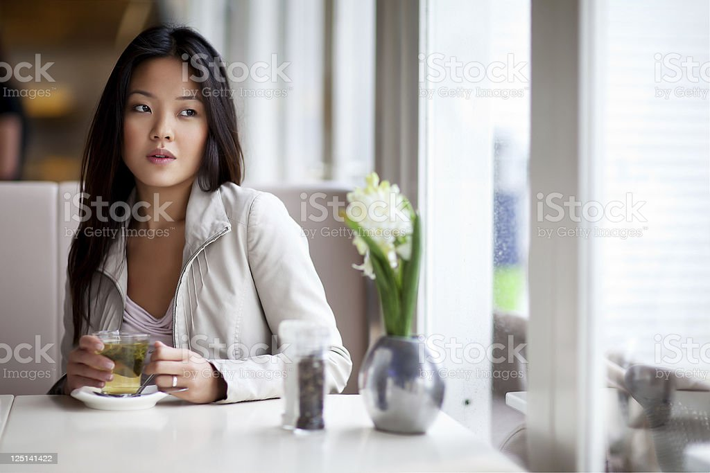 sad lonely woman drinking tea royalty-free stock photo