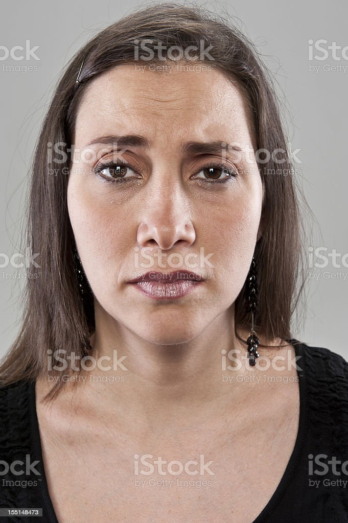 Sad Mature Hispanic Woman (real people) stock photo