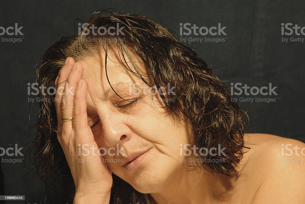 Sad middleaged woman royalty-free stock photo