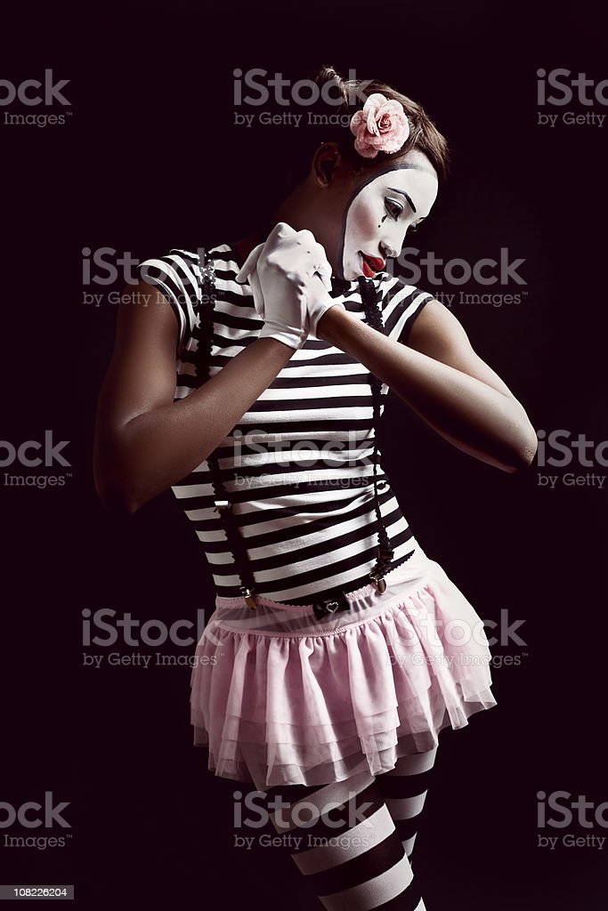 Sad Mime Woman, Isolated on Black royalty-free stock photo