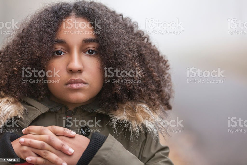 Sad Mixed Race African American Teenager Woman stock photo