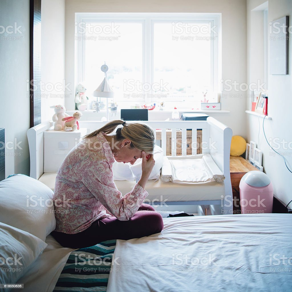 Sad Mother stock photo