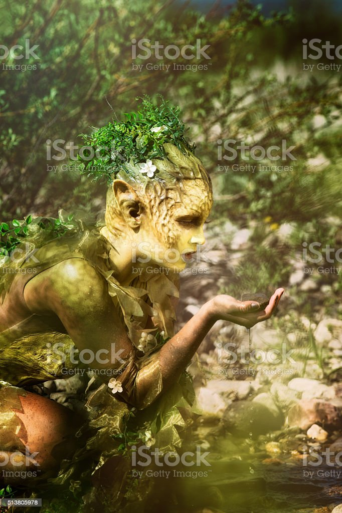 Sad nature water nymph looking at a wet rock stock photo